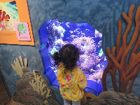 A little girl takes in the world of a tropical tank.
