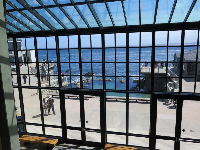 View of the ocean from inside the aquarium- what a spot!