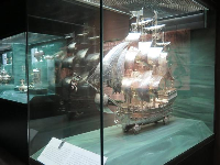 A model ship of wheels, made by a 19th century German silversmith.