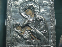 Madonna of the Cave, made of wood and silver, from 18th century Greece.