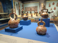 Painted ceramic vessels from Peru.