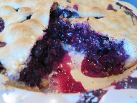 The inside of the blueberry pie!
