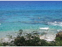 Someone snorkeling in the delightful waters at the northern end of the beach.