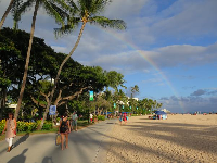 Rainbow by the beach walkway.