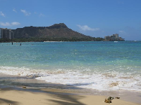 Views of Diamond Head from the east end of huge Fort DeRussy Beach.