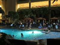 The Tapa Tower pool at night.