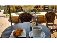 Pain au chocolat and tea, outside at Renaud's.