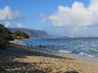 A rainbow greets us on a Saturday morning at Aweoweo Beach.