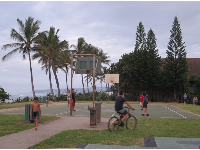 Skateboarding, bike riding, playing basketball.. the happening scene at sunset at Aweoweo Beach Park.