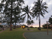 The park in the evening, with palm trees silhouetted against the sky.