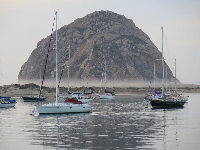 Fog at the bottom of Morro Rock, as seen from Tidelands Park.