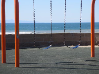 Swings with ocean behind.