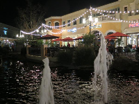 Fountain, pond, and strung lights.