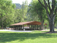 A pavilion, and the amazing close-by forested mountains to the south.