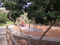 Looking down at the playground, from the path.