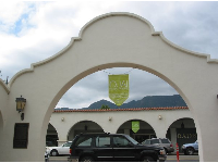 Gorgeous Spanish architecture, and a banner advertising the Ojai Music Festival, a Classical music festival which occurs in June.