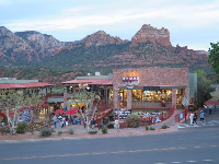 Night falls on Sedona's main part of town.