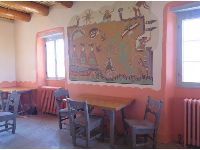 Mural on the wall at Painted Desert Inn, a ranger station and museum.