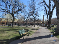 Santa Fe Plaza, the old square in the middle of town.