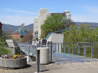 The glass pedestrian bridge outside the Hunter Museum of Art.
