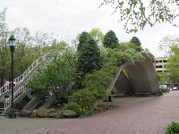 Planted bridge to walk under, outside the aquarium between the two buildings.