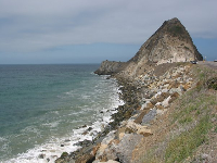 View of Mugu Rock from pull-off on Highway 1. The pull-off is on your way if you're heading south to Sycamore Cove.