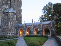 Duke Chapel's archways at night.