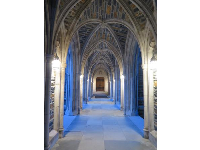 Blue light in the arches of Duke Chapel.