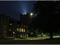 Castle building at night.