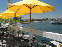 Colorful umbrellas and a water view at Shoreline Village.