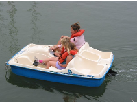 Paddle boats to rent.