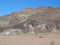 Artist's Palette, where mineral deposits have left swaths of green, red, pink, orange, and purple on the hills.