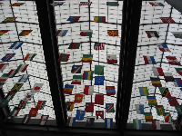 Awesome flags hanging from the ceiling in the library. Kids love these!