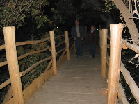 The wooden bridge that leads from the parking to the live music stage.