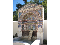 The tilework fountain on the back patio.