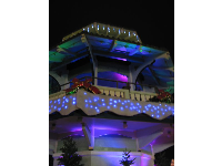 Blue icicles at the pagoda, during the lights and music show every night in December.