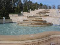 The Versailles fountain and its pale blue pools.