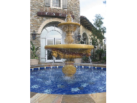 The blue-tiled Spanish fountain- beautiful!