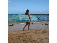 A surfer girl at Laniakea Beach.