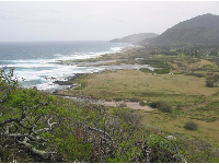 This is rugged, open terrain. Looking toward Sandy Beach from the path.