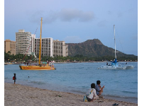 Diamond Head and the two catamarans in front of the Royal Hawaiian Beach.