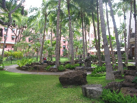 The Royal Hawaiian Shopping Center and its many palms, lava rocks, and statues.
