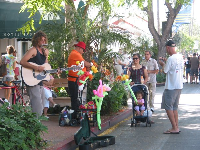 Musicians and balloons.