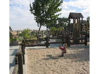 The wooden playground and first sandy area.