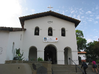 The mission's Spanish portico, which was restored in 1933.