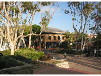The pretty plaza in front of the mission, and stores on Chorro St.