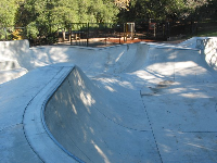The super deep skate park. See the wooden playground behind.