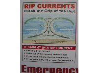 Sign advising how to save yourself when caught in a rip current- good thing to know!