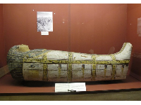 Coffin of a priest and scribe. The phallic fertility images have been erased during the Victorian era.