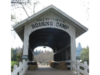 A covered bridge with hay stacks awaits you at the entrance to Roaring Camp.